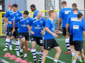The Chesterfield players warm up