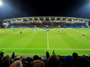 The floodlights shine over the Proact