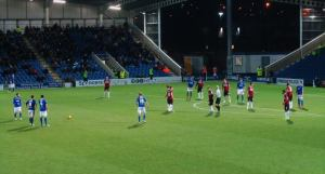 Chesterfield prepare to take a free kick
