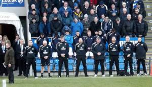 The Chesterfield dugout take part in the silence