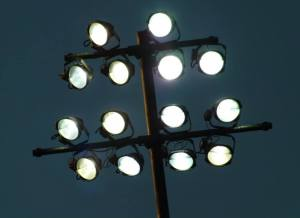 Floodlight shines