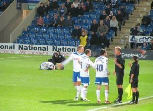 The Rochdale players appeal to the referee