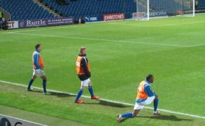 The Chesterfield substitutes warm up