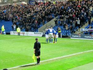 Ollie Banks celebrates scoring his second and Chesterfield's third