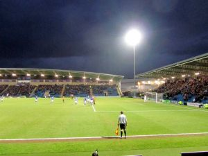 The floodlight shines down
