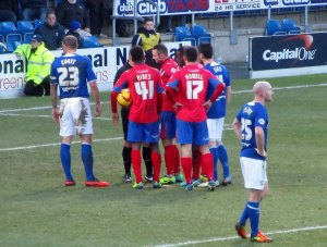 The visitors are awarded a penalty