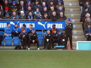 Paul Cook on the touchline