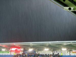 The rain pours down