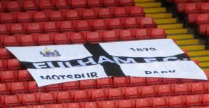 A flag on the away end