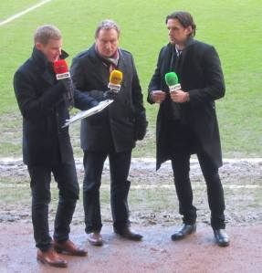 BT Sport discuss the first half action with Neil Warnock and Owen Hargreaves