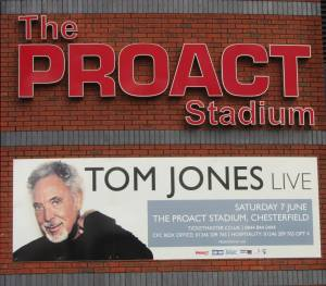 Tom Jones adorns the front of the stadium ahead of his concert here in June