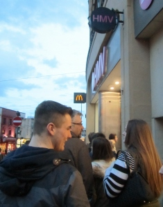 Queuing outside HMV