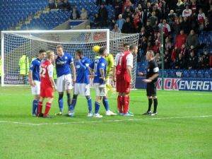 Jon Parkin argues with the referee