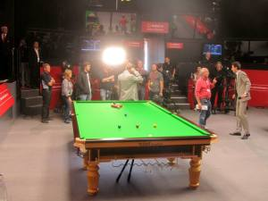 Stephen Hendry prepares to broadcast to the nation