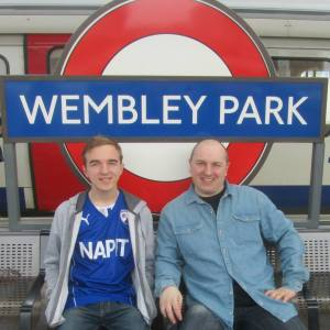 Me and my Dad upon arrival at Wembley Park station