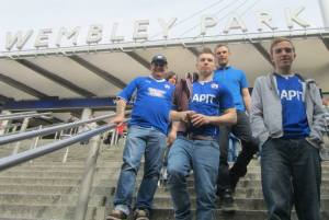 Walking down the steps and on to Wembley way