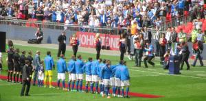 Chesterfield players line up on the field
