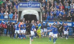 Gary Roberts charges to the dugout after putting Chesterfield ahead