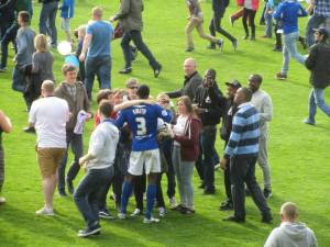 Nathan Smith celebrates with the fans