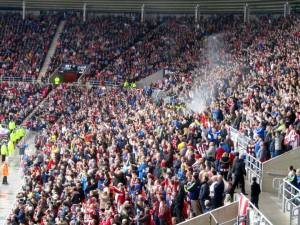 Still a party atmosphere amongst the Sunderland fans