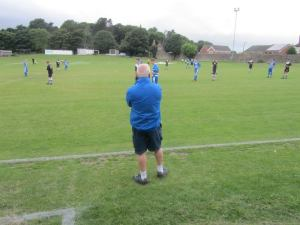 The Hallam boss looks on from the touchline