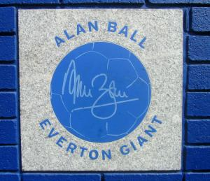 World Cup winner Alan Ball is one of many names on the wall at Goodison Park