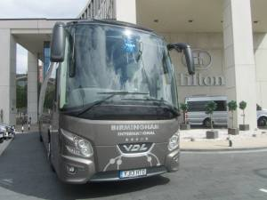 The Porto team coach outside the Hilton Hotel