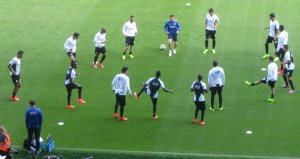 The Porto players warm up