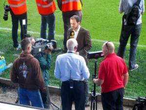 TV presenters at pitchside