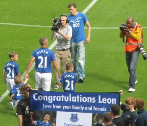 The Everton legend makes his way on to the field