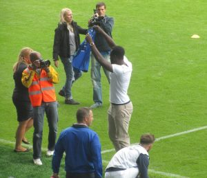 Romelu Lukaku is introduced to the fans after signing permanently for Everton