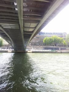 Going under one of the 37 bridges in  Paris
