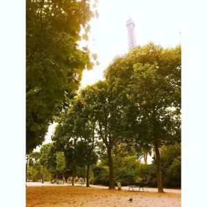 The tower overlooks a Paris park