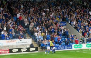The players celebrate Chesterfield's second