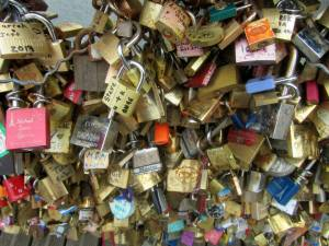 Some of the many 'love locks'