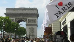The Arc de Triomphe at the top of the street