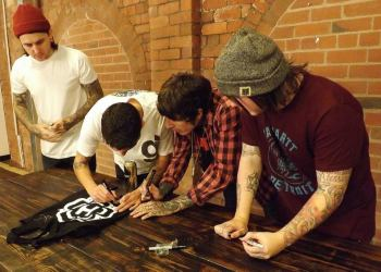 The band signing