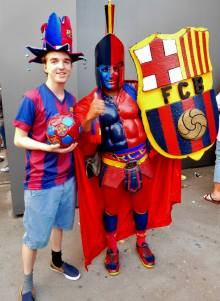 A particularly colourful Barca fan!