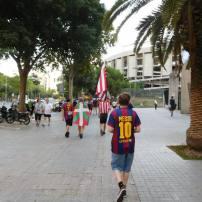 Walking to the stadium