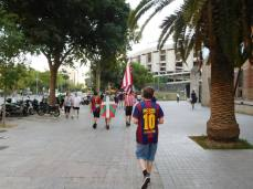 Walking to the stadium