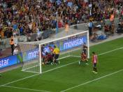 A goalmouth scuffle following Messi's opener