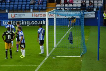 A corner for Mansfield late in the half...
