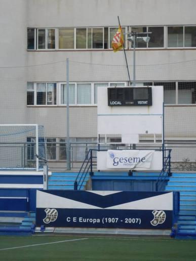 The scoreboard behind the goal