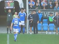 Rai Simons is brought on for his Chesterfield debut