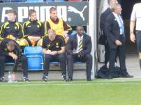 Jimmy Floyd Hasselbaink on the touchline