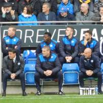 Dean Saunders and his team watch from the dugout