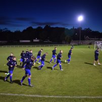 The Hallam players warm-up