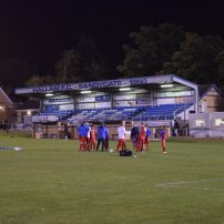 The Rossington players prepare for the game
