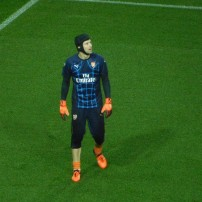 Arsenal goalkeeper Petr Cech warms up