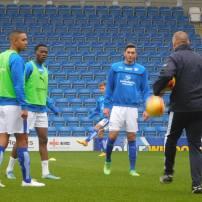 Byron Harrison, Gboly Ariyibi and Ollie Banks warm up